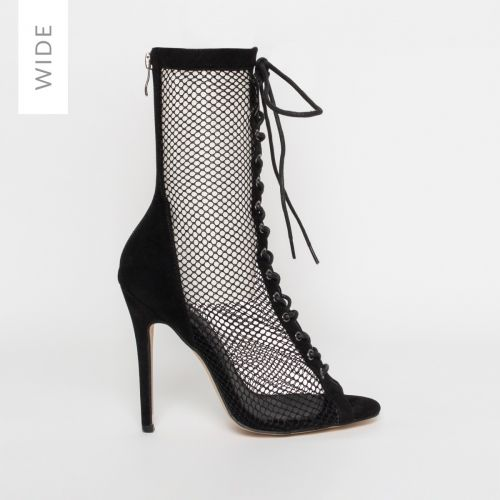 Lira Wide Fit Black Suede Mesh Lace Up Ankle Boots
