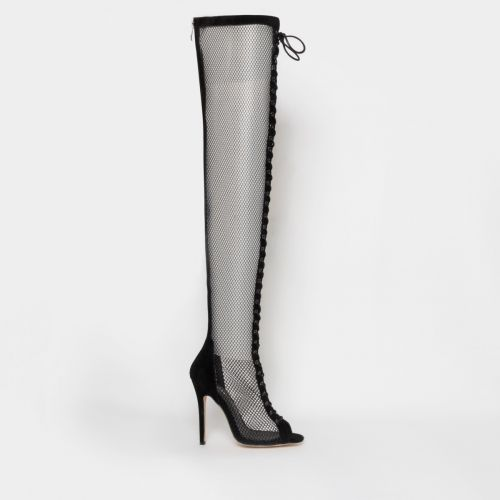 Leela Black Suede Mesh Lace Up Thigh High Boots