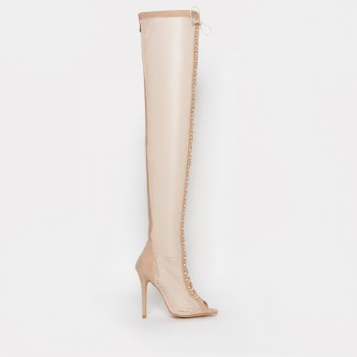 Leela Nude Suede Mesh Lace Up Thigh High Boots