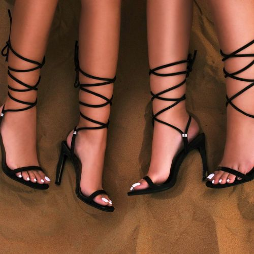 SONIA X FYZA Lit Black Lycra Lace Up Heels