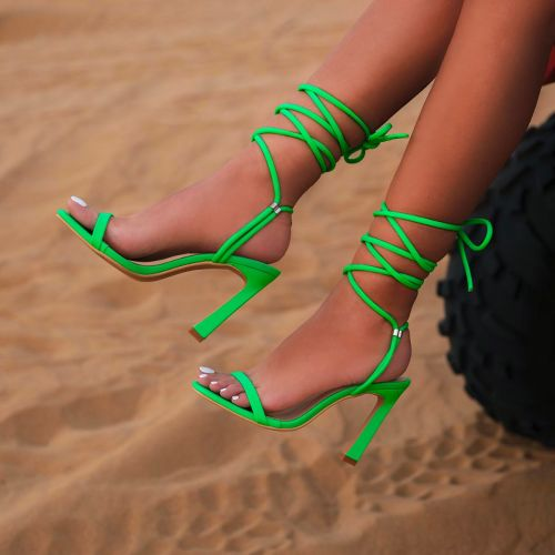 SONIA X FYZA Lit Green Lycra Lace Up Heels