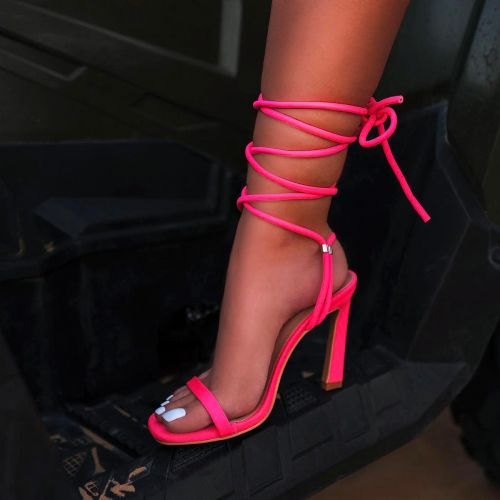 SONIA X FYZA Lit Pink Lycra Lace Up Heels