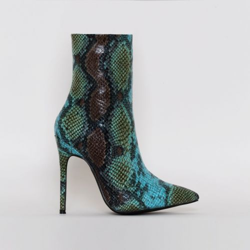 Louise Blue Snake Print Stiletto Ankle Boots