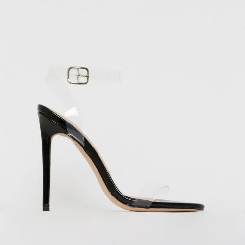 Lola Black Patent Clear Stiletto Heels