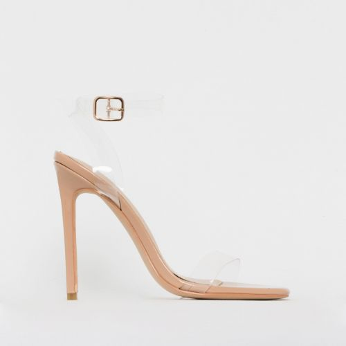 Lola Nude Patent Clear Stiletto Heels