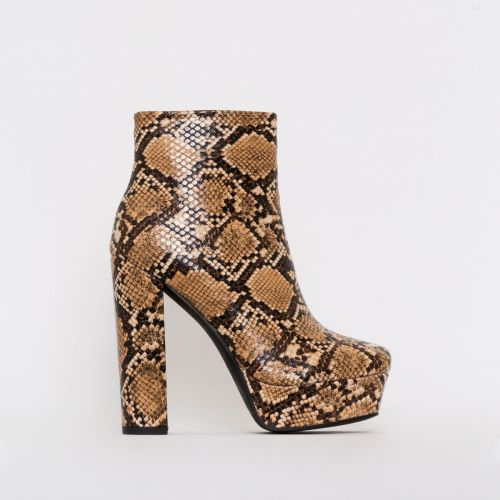 Taylor Beige Snake Print Platform Ankle Boots
