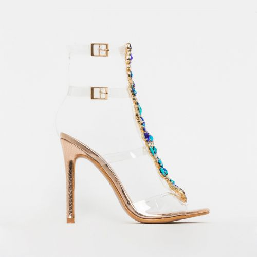 Lucia Rose Gold Snake Gem Clear Stiletto Heels