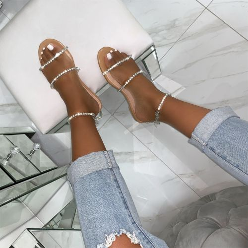 Lucie Nude Patent Clear Diamante Sandals