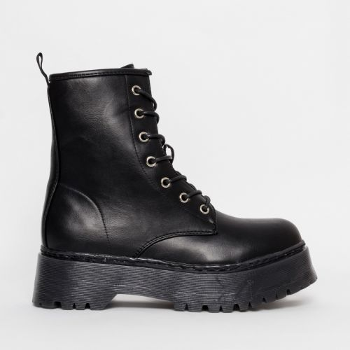 Lennox Black Chunky Lace Up Ankle Boots