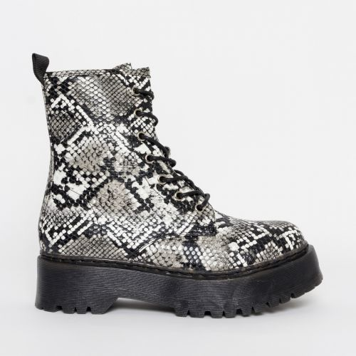 Lennox Black and White Snake Chunky Lace Up Ankle Boots