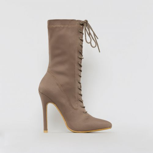 Celia Taupe Lycra Lace Up Pointed Ankle Boots