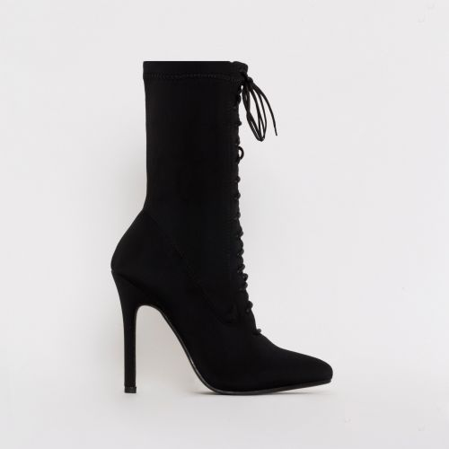 Celia Black Lycra Lace Up Pointed Ankle Boots