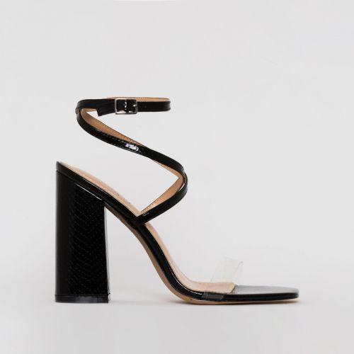 Blaise Black Patent Snake Print Strappy Block Heels