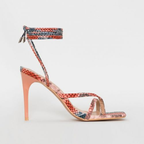 Killy Pink Multi Snake Print Lace Up Stiletto Heels