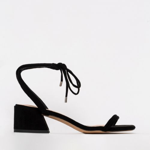 Maddy Black Suede Lace Up Mid Block Heels