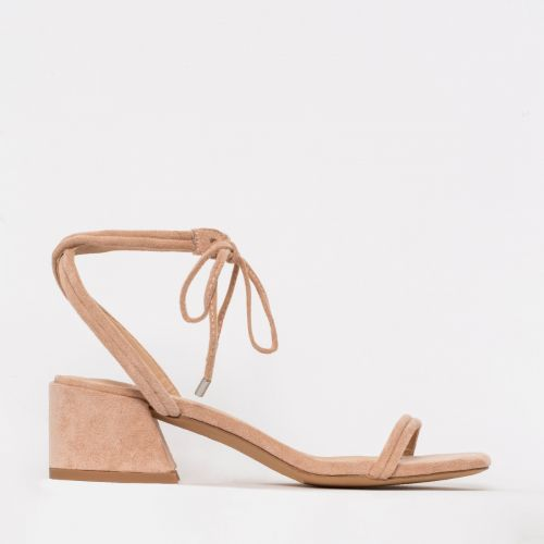 Maddy Nude Suede Lace Up Mid Block Heels