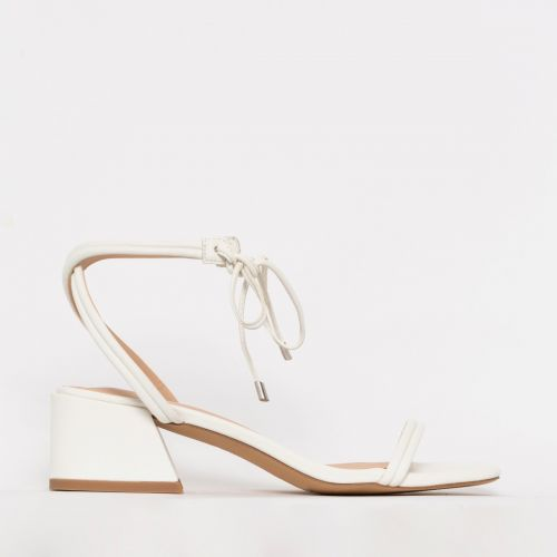 Maddy White Lace Up Mid Block Heels