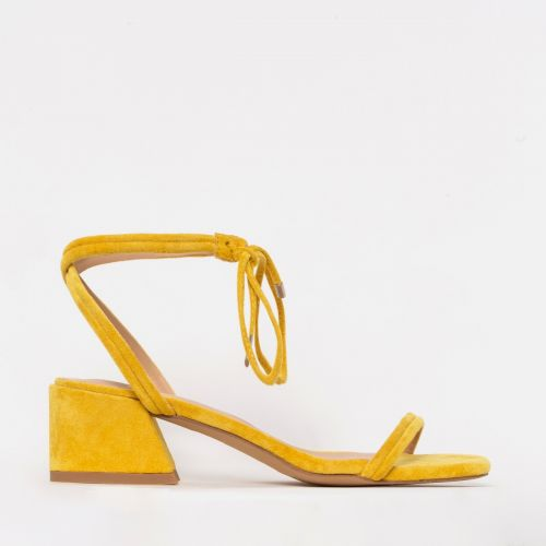 Maddy Yellow Suede Lace Up Mid Block Heels
