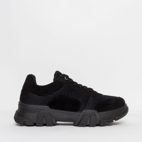 Liberty Black Suede Mesh Chunky Trainers