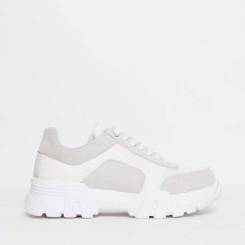 Liberty Grey Suede White Mesh Chunky Trainers