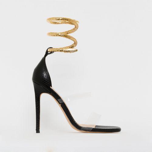 Medusa Black Snake Print Cuff Stiletto Heels