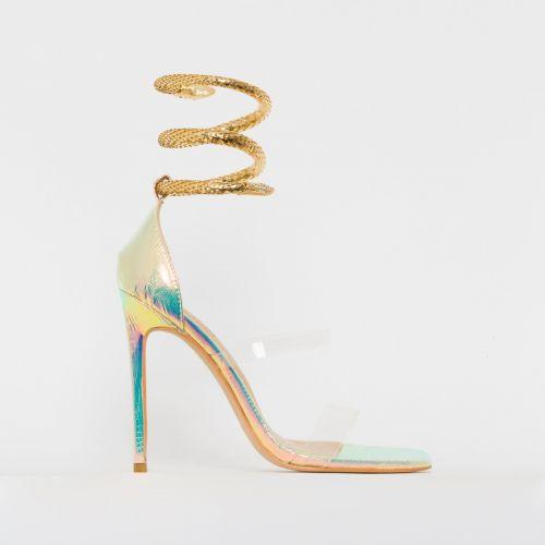 Medusa Rose Iridescent Snake Print Cuff Stiletto Heels