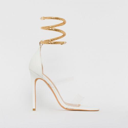 Medusa White Snake Print Cuff Stiletto Heels
