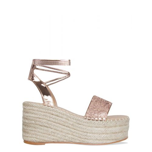 Melanie Rose Gold Diamante Lace Up Espadrille Flatforms