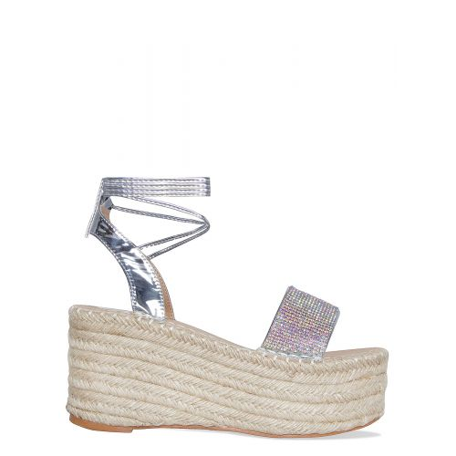 Melanie Silver Diamante Lace Up Espadrille Flatforms