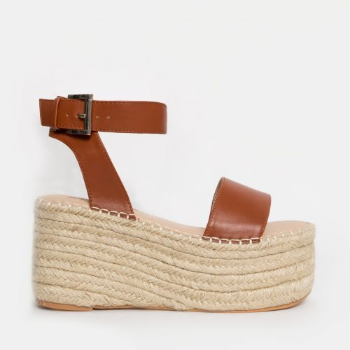 Mae Tan Buckle Espadrille Flatforms