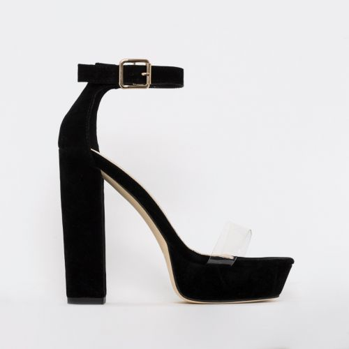 Milly Black Suede Clear Platform Block Heels