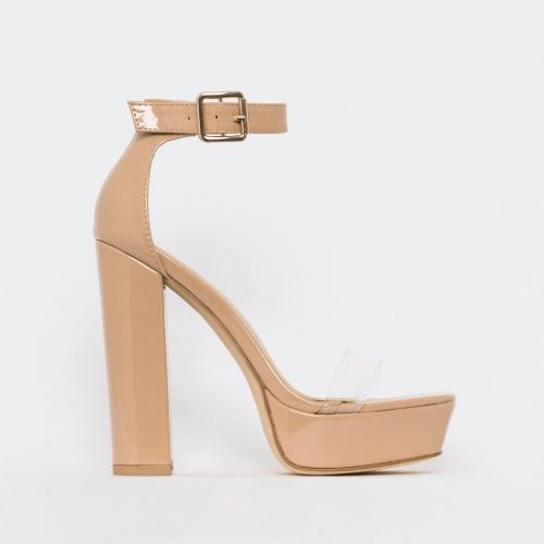 Milly Nude Patent Clear Platform Block Heels