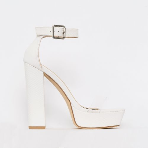 Milly White Snake Print Clear Platform Block Heels