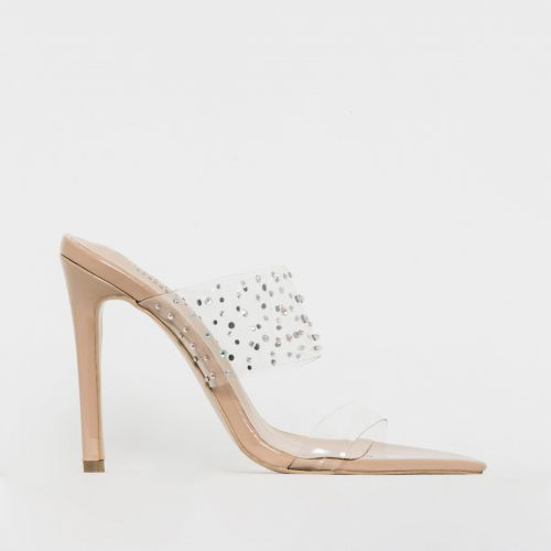 Mylee Nude Patent Clear Diamante Mules