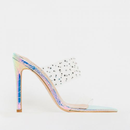 Mylee Iridescent Snake Print Clear Diamante Mules
