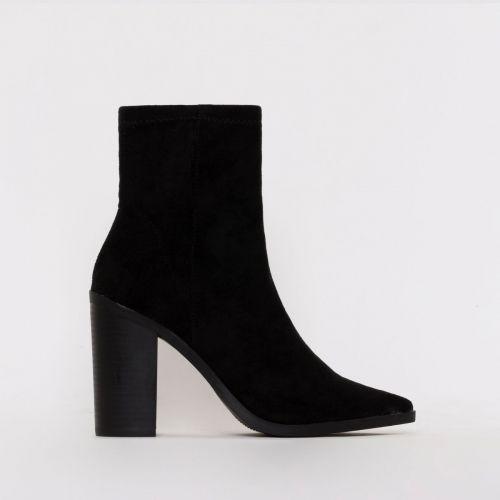 Ariva Black Suede Block Heel Ankle Boots