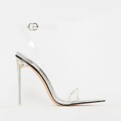 Molly Silver Patent Clear Diamante Stiletto Heels