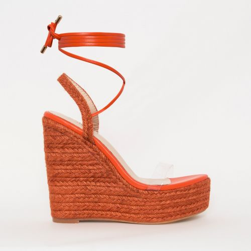 Malina Orange Espadrille Lace Up Wedges