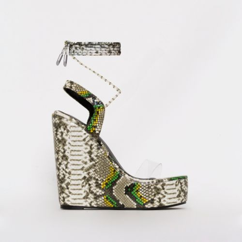 Viola Green Multi Snake Print Clear Tie Up Wedges