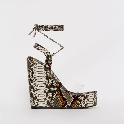 Viola Beige Multi Snake Print Clear Tie Up Wedges