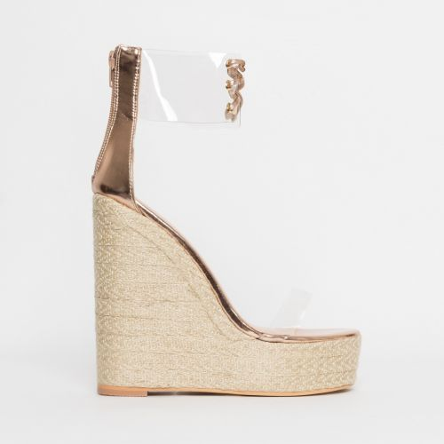 Monique Rose Gold Clear Espadrille Wedges