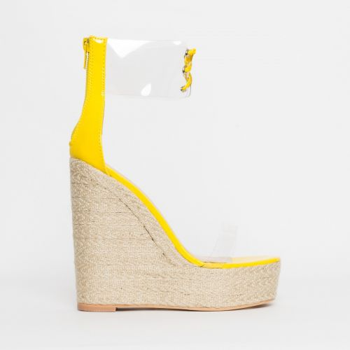 Monique Yellow Patent Clear Espadrille Wedges