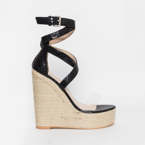 Malaya Black Snake Lace Up Espadrille Wedge