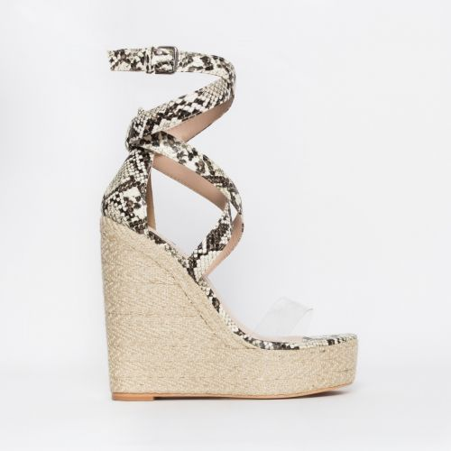 Malaya Beige Snake Lace Up Espadrille Wedge