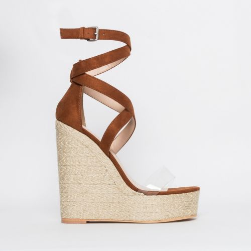 Malaya Tan Suede Lace Up Espadrille Wedge