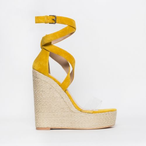 Malaya Yellow Suede Lace Up Espadrille Wedge