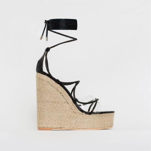 Misty Black Snake Print Clear Lace Up Espadrille Wedges