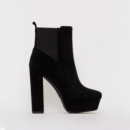 Valentina Black Suede Chelsea Platform Ankle Boots
