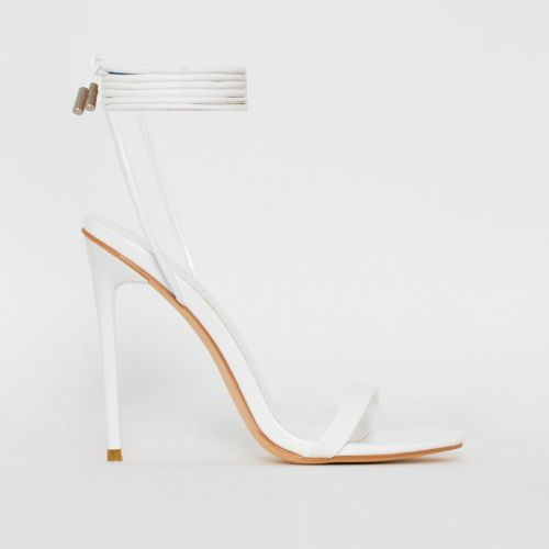 Whitney White Patent Tie Up Stiletto Heels