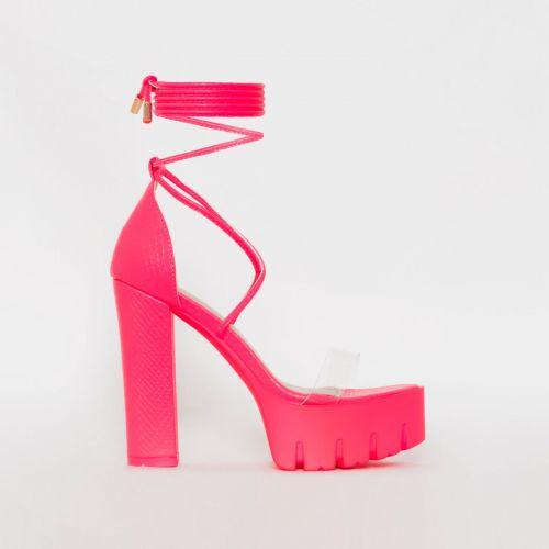 Sula Pink Snake Print Clear Lace Up Platform Heels